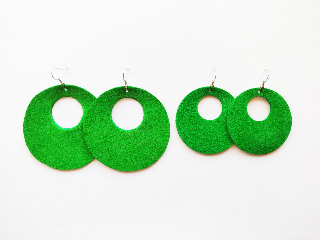 Green Suede Halo Round Genuine Leather Earring