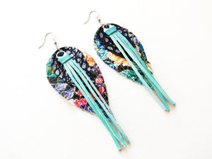 Floral Fringe Tassel Feather Genuine Leather Earrings