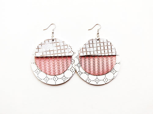 OOAK White, Pink, Silver Triple Layer Round Genuine Leather Earring
