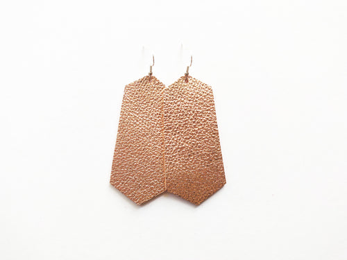 Rose Gold Jewel Genuine Leather Earring