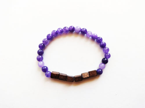 Purple & Wood Beaded Bracelet