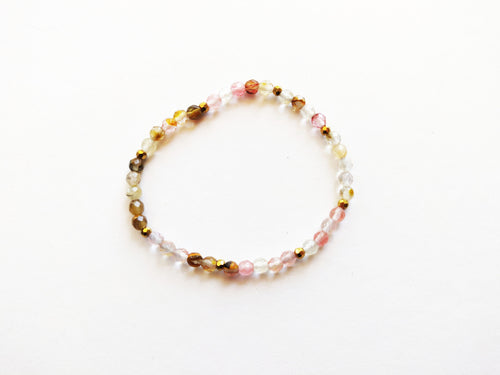 Natural Pink Beaded Stacker Bracelet