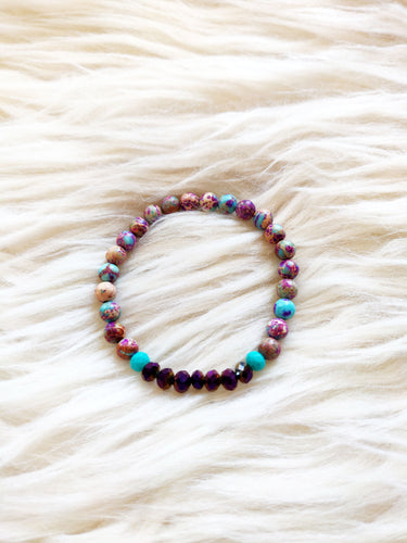 Purple & Turquoise Beaded Bracelet