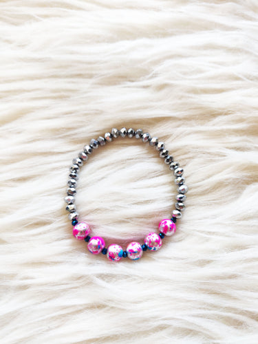 Hot Pink & Gunmetal Silver Beaded Bracelet