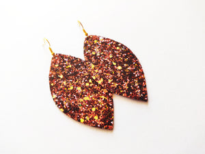 Chocolate & Gold Glitter Leaf Vegan Leather Earring