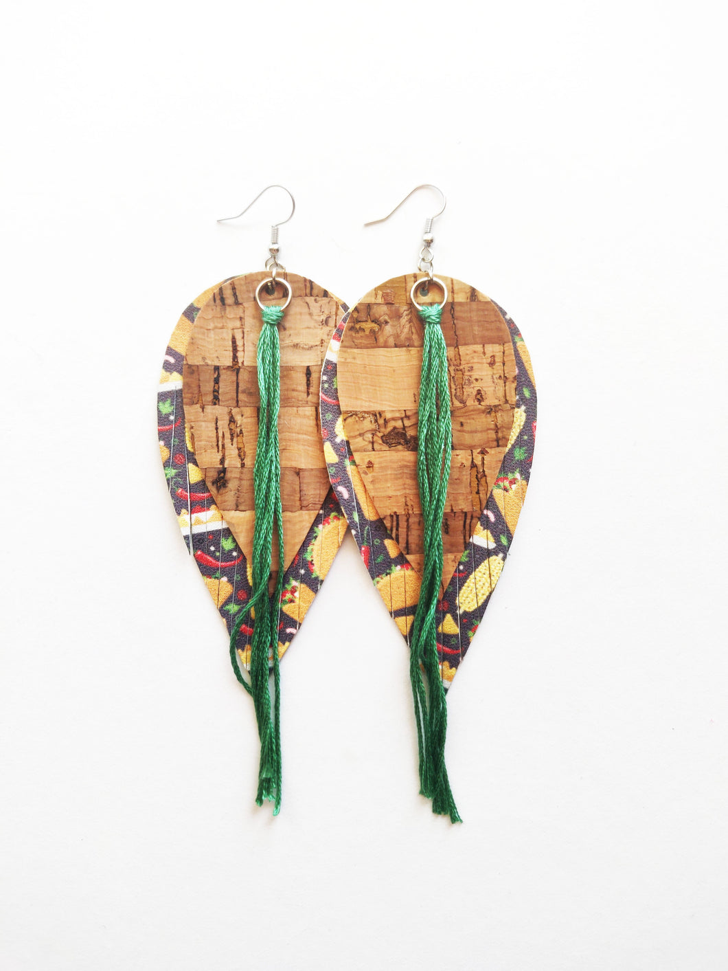One Of A Kind Double Tassel Feather Genuine Leather Earrings