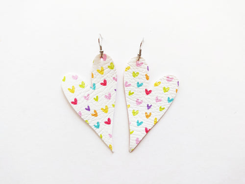 Rainbow Heart Vegan Leather Earring