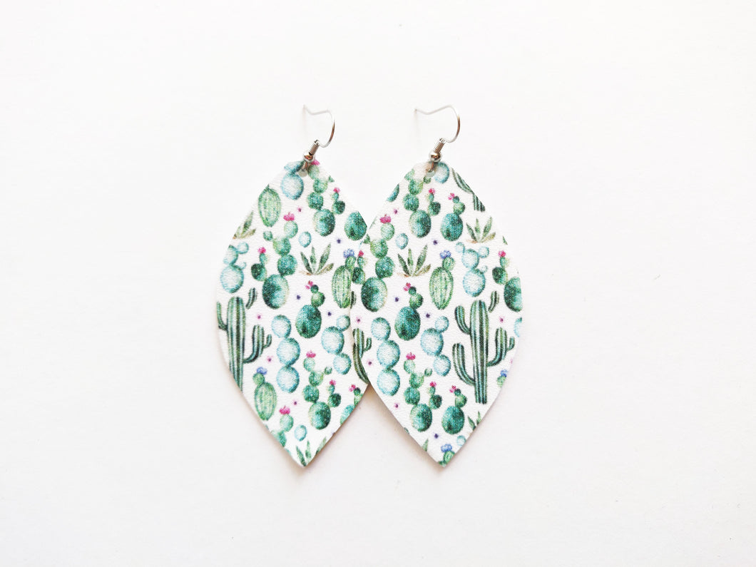 Desert Cactus Leaf Vegan Leather Earrings