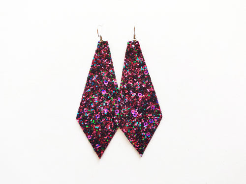 Berry Glitter Diamond Vegan Leather Earring