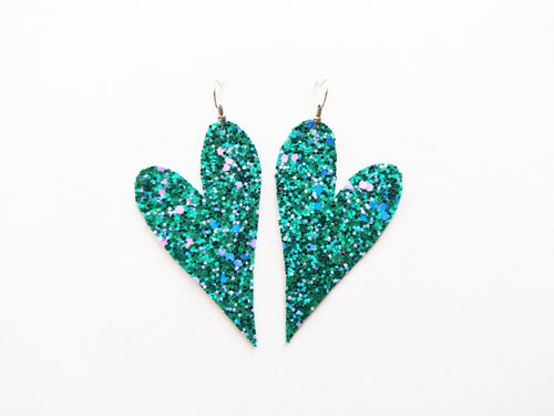 Teal Glitter Heart Vegan Leather Earring