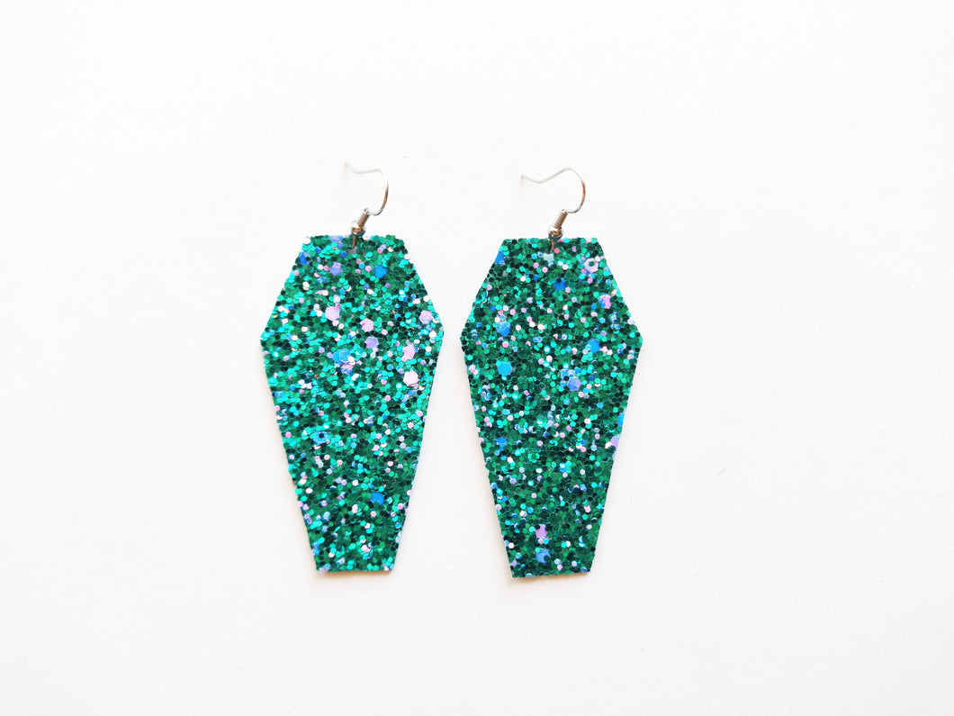 Teal Glitter Coffin Vegan Leather Earrings