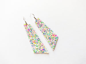 Funfetti Glitter Signature Vegan Leather Earrings