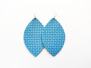Blue Woven Leaf Genuine Leather Earring