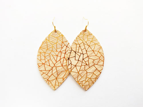 Gold Geo Cork Leaf Genuine Leather Earring