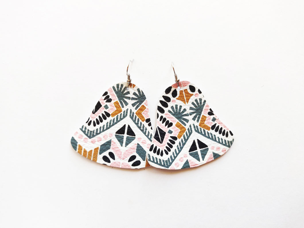 Pastel Tribal Bell Genuine Leather Earring
