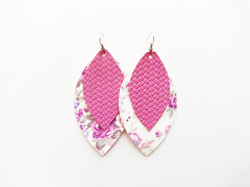 Purpleish Pinkish Floral Double Layer Leaf Vegan Leather Earring
