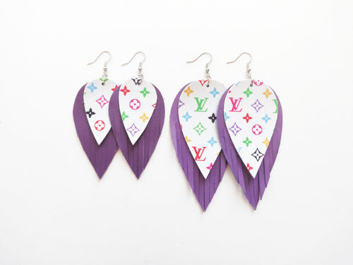 Louis Louis Feather Genuine Leather Earrings