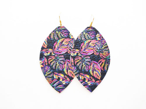 Neon Palm Leaf Genuine Leather Earring