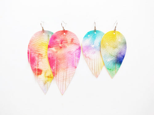 Tie Dye Feather Vegan Leather Earrings