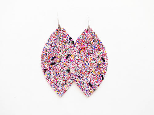 State Fair Glitter Leaf Vegan Leather Earring