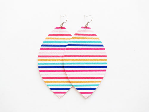Rainbow Stripe Leaf Vegan Leather Earrings