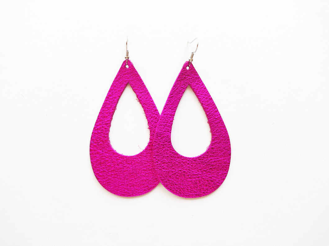 Metallic Magenta Cutout Teardrop Genuine Leather Earring