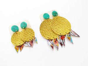 Floral Yellow The Looker Genuine Leather Statement Earring