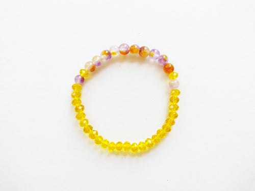 Yellow & Purple Tie Dye Beaded Bracelet
