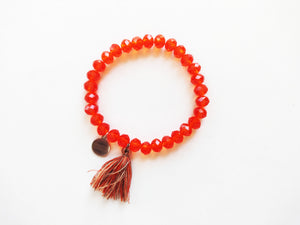 Hot Orange Beaded Tassel Bracelet