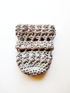 Grey Crocheted Full Coverage Cup Cozy