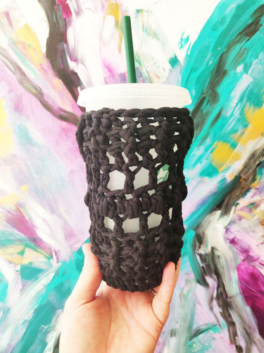Black Crocheted Full Coverage Cup Cozy