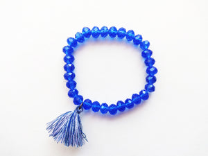 True Blue Beaded Tassel Bracelet
