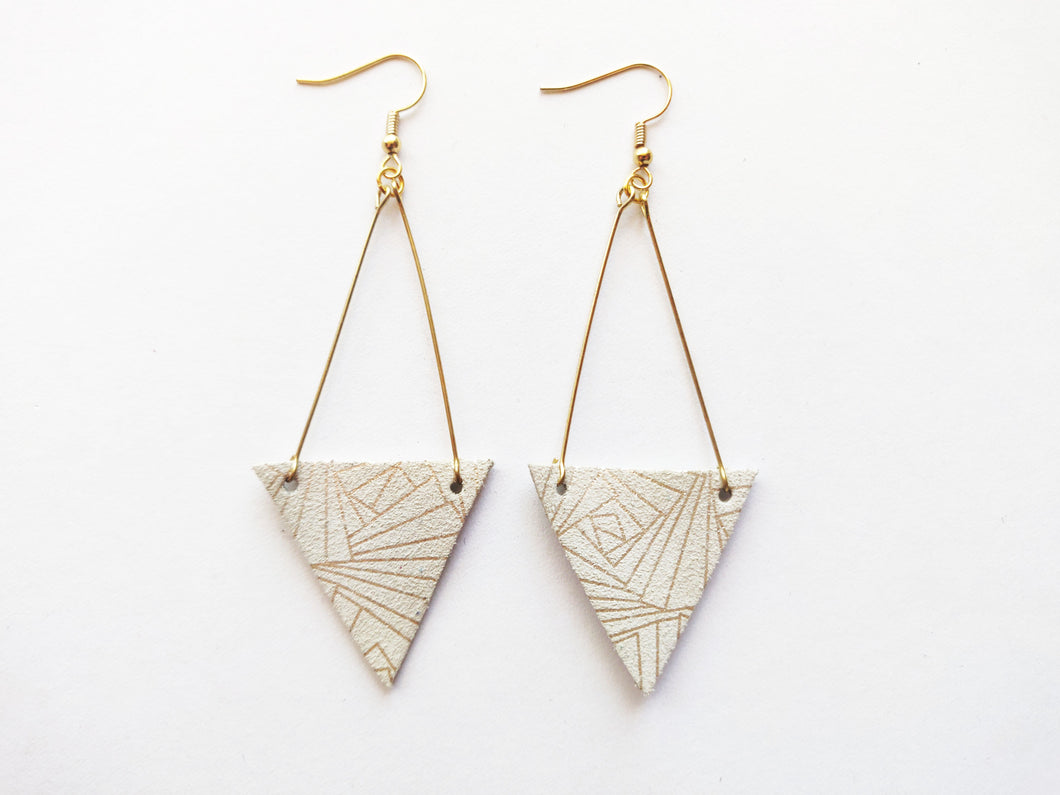Gold Deco Drop Genuine Leather Earring