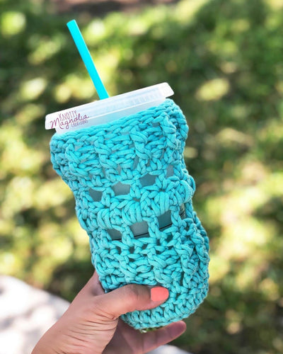 Aqua Crocheted Full Coverage Cup Cozy