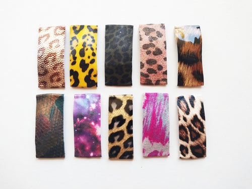 Small Leopard, Floral, and Abstract Snap Clips