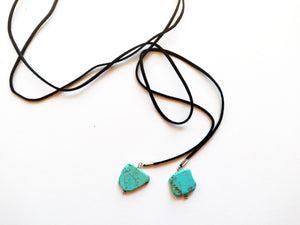 Turquoise Howlite Stone Lariat Choker Necklace
