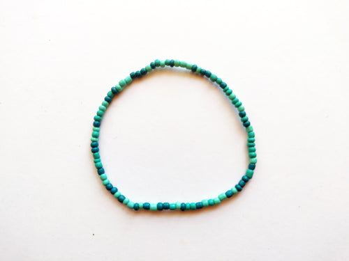 Mint Variegated Beaded Anklet