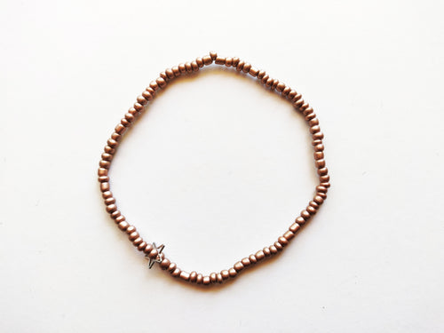 Rose Gold Star Charm Beaded Anklet