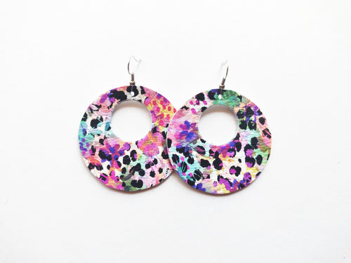 Spotted Floral Cutout Halo Genuine Leather Earring