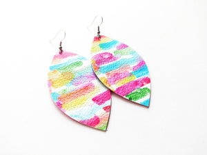 Tie Dye Brush Strokes Leaf Vegan Leather Earrings