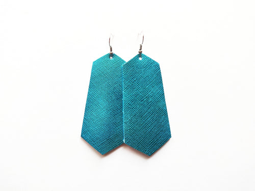 Electric Blue Metallic Saffiano Jewel Genuine Leather Earring
