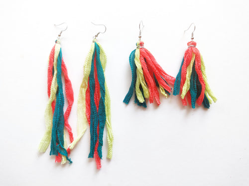 OOAK Silk Rag Tassel Earrings