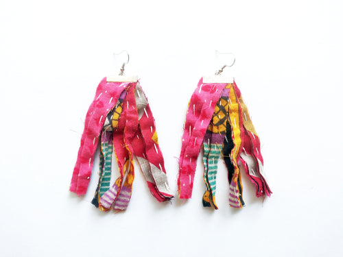 OOAK Kantha Rag Tassel Vintage Sari Earrings