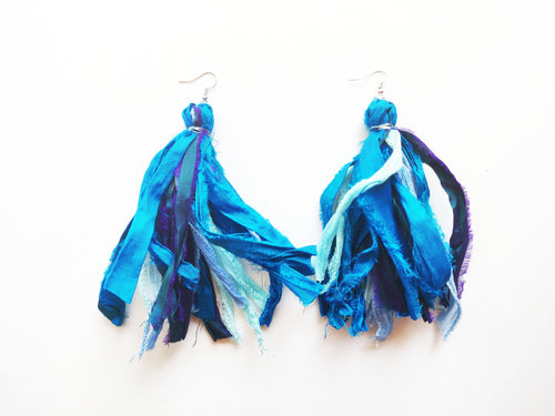 OOAK Vintage Sari Silk Rag Tassel Earrings