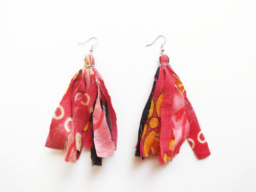 OOAK Vintage Sari Cotton Rag Tassel Earrings