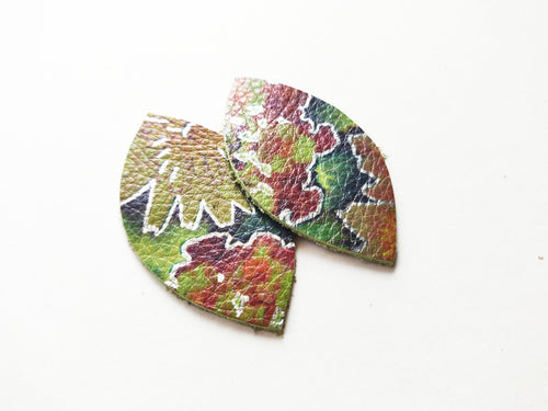 Green Floral Leaf Genuine Leather Earrings