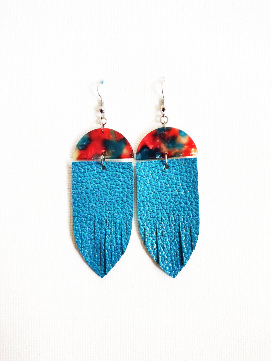Blue Raspberry Whimsy Fringe Genuine Leather Earring