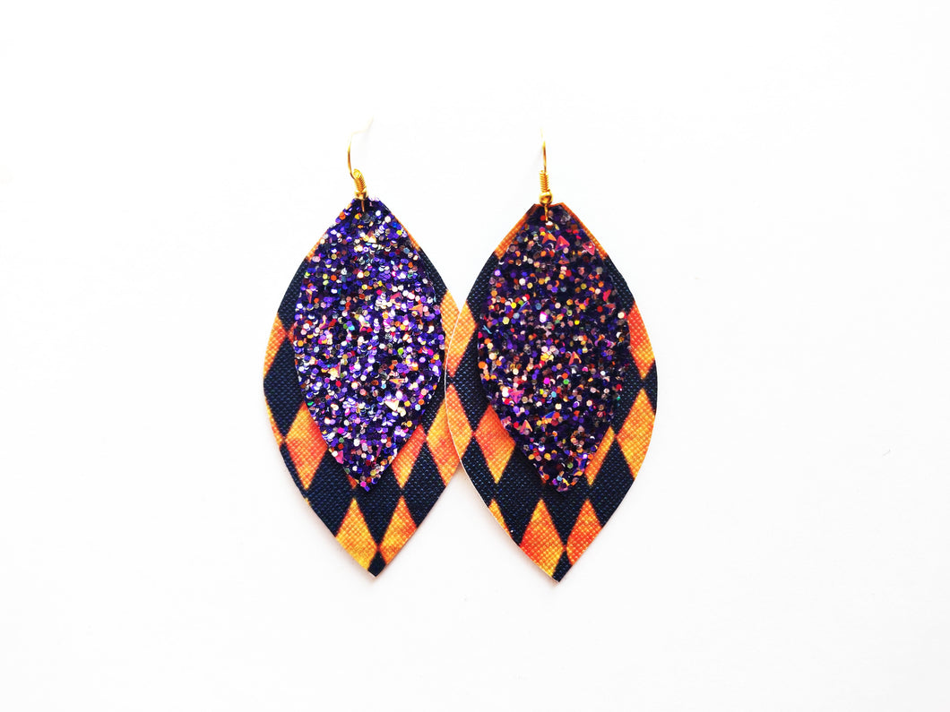 Purple Glitter Diamonds Double Leaf Vegan Leather Earring