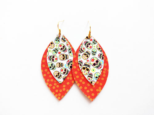 Sugar Skull Double Leaf Vegan Leather Earring