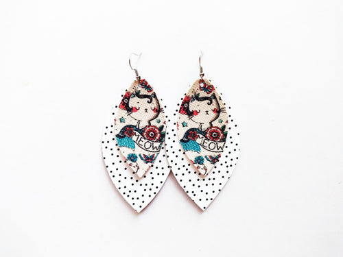 Tattoo Kitty Double Leaf Vegan Leather Earrings